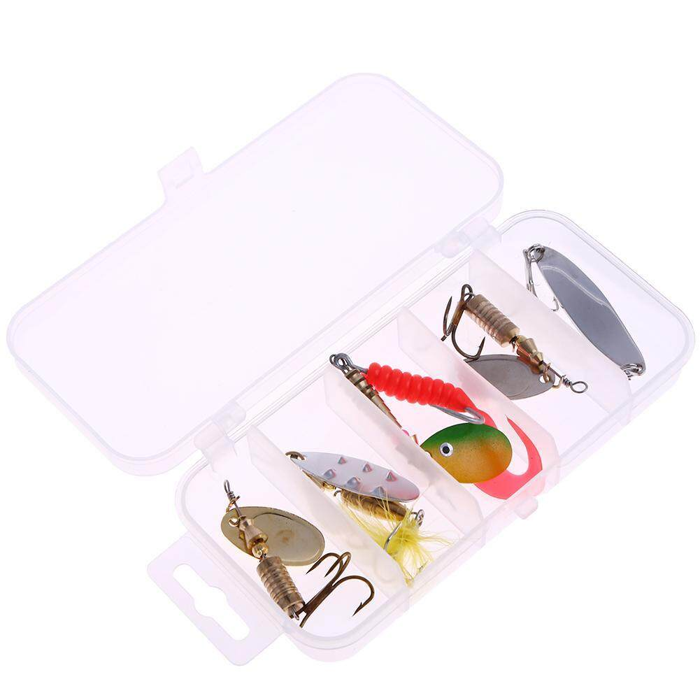 ซื้อ Fishing Lure With Hook Box Copper Sequins Fishing Spoon Bait Spinner 5Pcs Intl ออนไลน์ ถูก