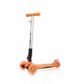 Foldable 21st Scooter Height Adjustable With LED Light up Wheels(Orange)
