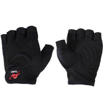 Harga Gym Building Training Fitness Gloves Weight WorkoutExercise(Black)(L)