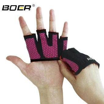 Harga KCmall Gym Exercise Sport Fitness Sports Hafl Finger Fitness Gloves Size M(18.1-19cm)(Red)