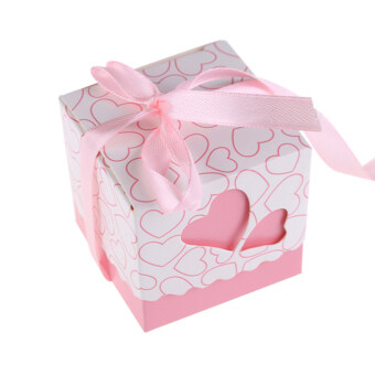 Harga 100Pcs Hollow Out Love Wedding Boxes Gift Favor Candy Box w/ Ribbon Pink