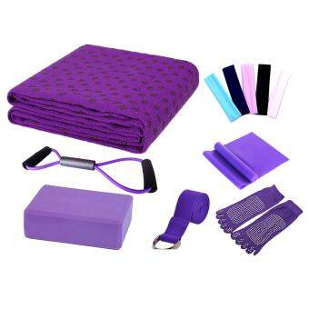 Harga leegoal Yoga Starter Kit - 7 Piece Essentials Beginners Bundle Include Yoga Towel,Yoga Blocks,Yoga Strap,Stretch Band,Yoga Sock,Yoga Head Band,Spring Cable,Purple