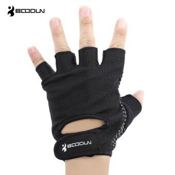 Harga MiniCar BOODUN Pair of Half Finger Glove for Gym Sport Exercise Fitness Training Weight Lifting Black size:M(Color:Black)