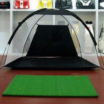 Harga XXL Golf Practice Driving Hit Net Cage Training Mat Aid Driver Irons w/Free Bag