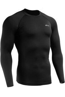 Harga Emfraa Mens Sports Compression Wear Under Baselayer Shirts Athletic Top (Black)