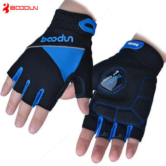 Harga BOODUN Unisex Cycling Gloves Sport Half Finger Hand Breathable Glove(Blue)M
