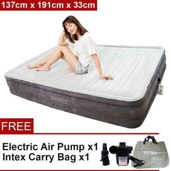 Harga INTEX (64498) 1.37 Meter Dura-Beam Series Deluxe Queen Size High Inflatable Airbed Mattress [NP215] - Premium