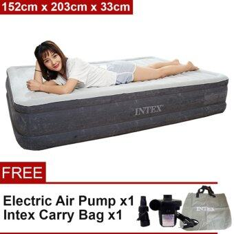 Harga INTEX (64499) 1.52 Meter Dura-Beam Series Deluxe Queen Size High Inflatable Airbed Mattress [NP248] - Premium
