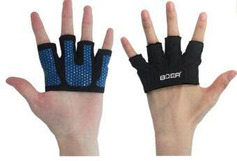 Harga KCmall Gym Exercise Sport Fitness Sports Hafl Finger Fitness Gloves Size L(18.1-19cm)(Blue)