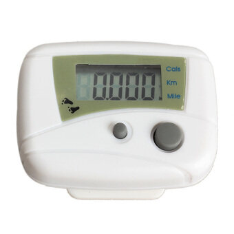 Harga LCD Run Step Pedometer Walking Distance Calorie Counter Passometer (White)