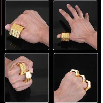 Harga SellinCost 3D Full Steel Movable Self Defence Kung Fu Solid Punching Ring Rings Hexagon Gold