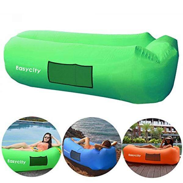 Inflatable Lounger, Easycity Blow Up Air Chair with Unique Headrest and Travel Bag, Inflate Fast and Perfect for Camping, Hiking, Skiing, Pool and Beach Parties - intl