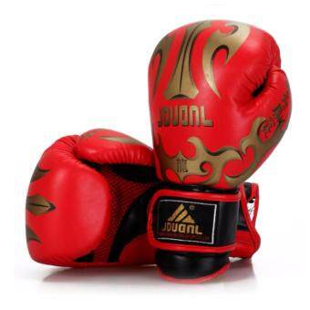 Harga JDUANL SW324 10OZ Professional Leather Boxing Training Glove (Red)