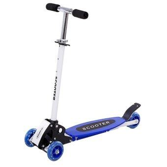 Harga Kid Foldable 4 Wheels Scooter with Flashing Wheel (Blue)