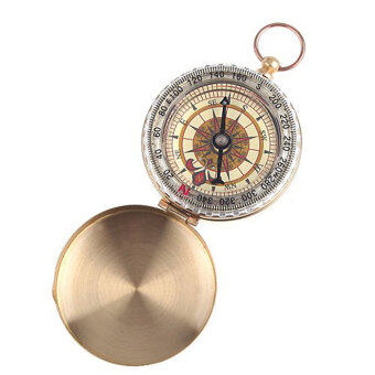 Leegoal Watch Style Antique Brass Pocket Compass Survival Tools ForCamping Hiking Outdoor Sports(Brassy) - 4