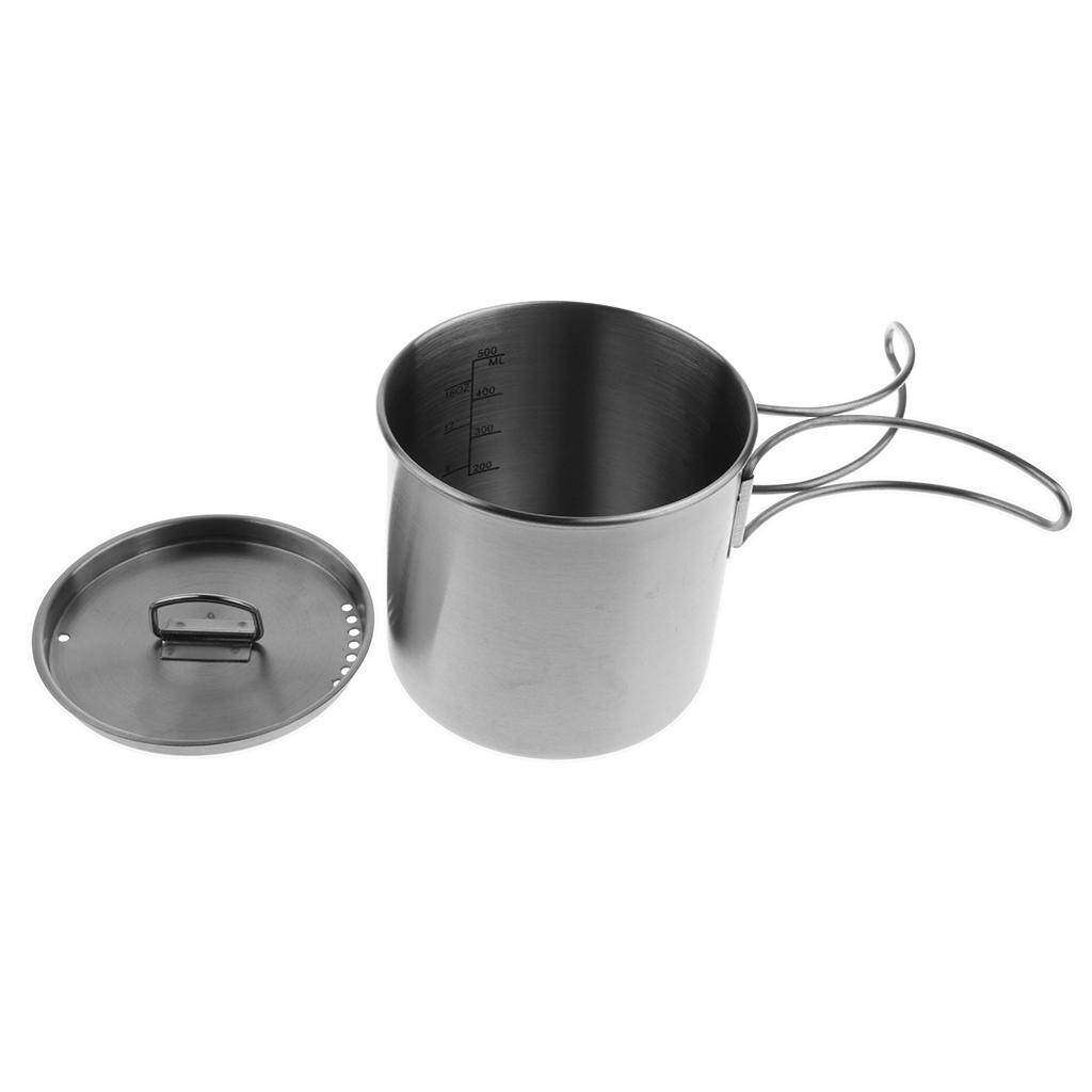 Magideal 500Ml Stainless Steel Outdoor Camping Cup Pot Bowl Backpacking Travel Cup With Lid Foldable Handle Intl Mới Nhất