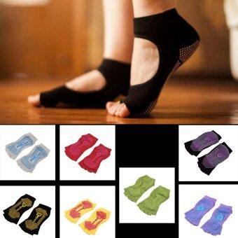 Harga OH Comfort Durable Yoga Pilates Socks Half Toe Ankle Grip Five Finger No-Slip 1Pair