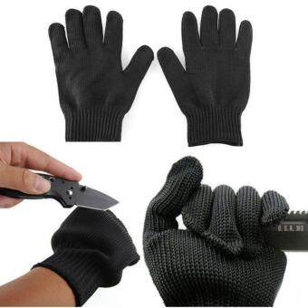 Harga Practical Durable Work Safety Protection Gloves Free Size StainlessSteel Wire Safety Works Outdoor Climbing Anti-Slash Cut ResistanceGloves(Black)