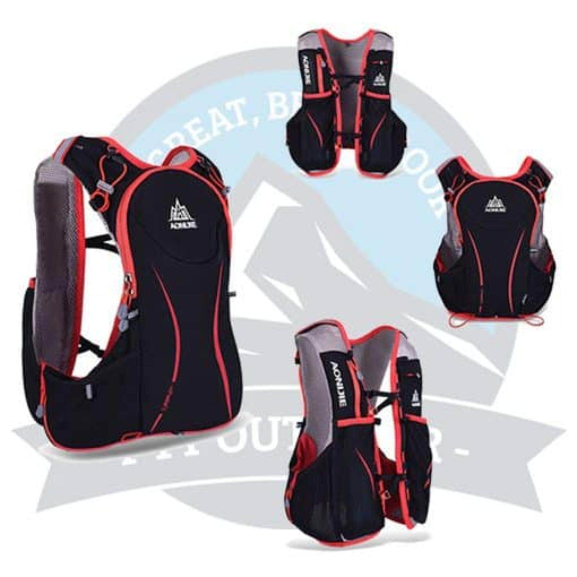 [Ready Stock] AONIJIE 5L Outdoor Sport Running Vest Backpack Women/Men Hydration Vest Pack for 1.5L Water Bag Cycling Hiking Bag - L/XL - Black