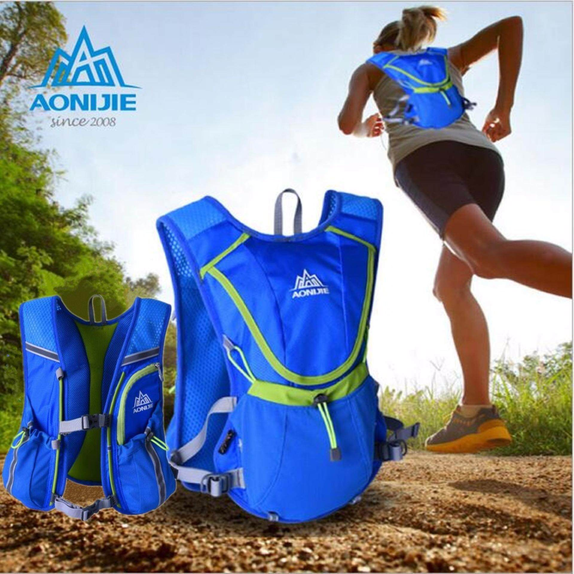 [ Quick Delivery ] AONIJIE Running Cycling Vest Backpack Sports Camping Hydration Water Bladder Bag - Blue