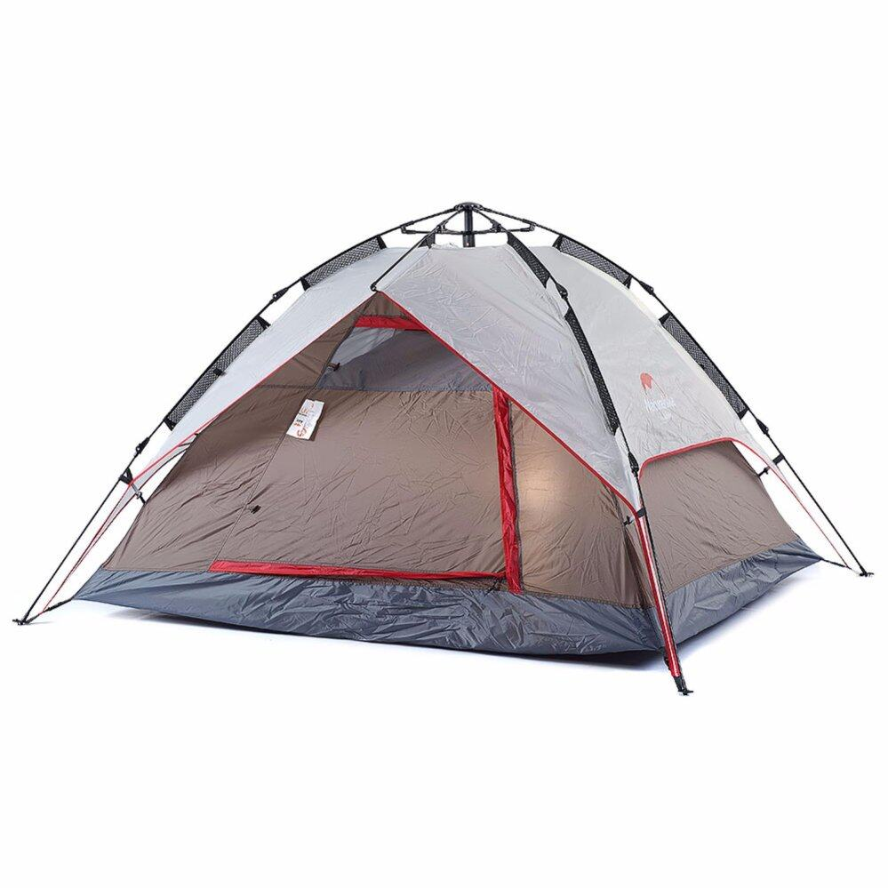 [ READY STOCK ]  NatureHike 3-4 Persons Automatic Rainproof Outdoor Tent Camping Quick Open Tent Family Outing Tent - Grey