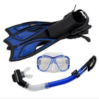 Scuba Diving Equipment Sets Underwater Diving Mask Full DrySnorkeling Gel Myopia Diving glasses Diving Mask+Snorkel+Fins(SIZE: M)
