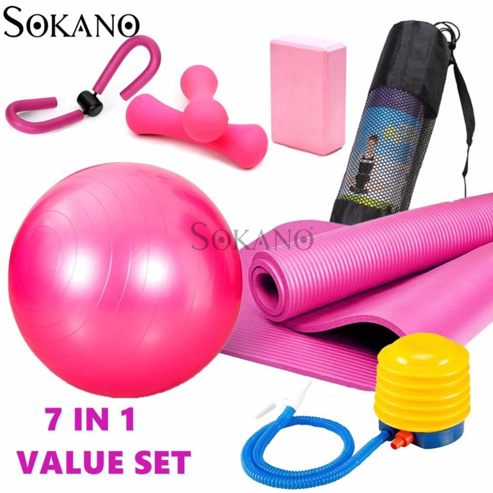 SOKANO 7 In 1 Woman Yoga Exercise Super Bundle Value Set - Pink Set