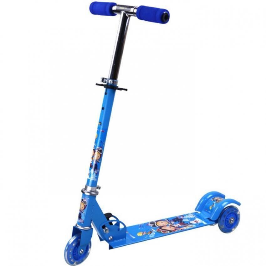 SOKANO Height Adjustable Foldable Kid Scooter with LED Light up Wheels (Blue)