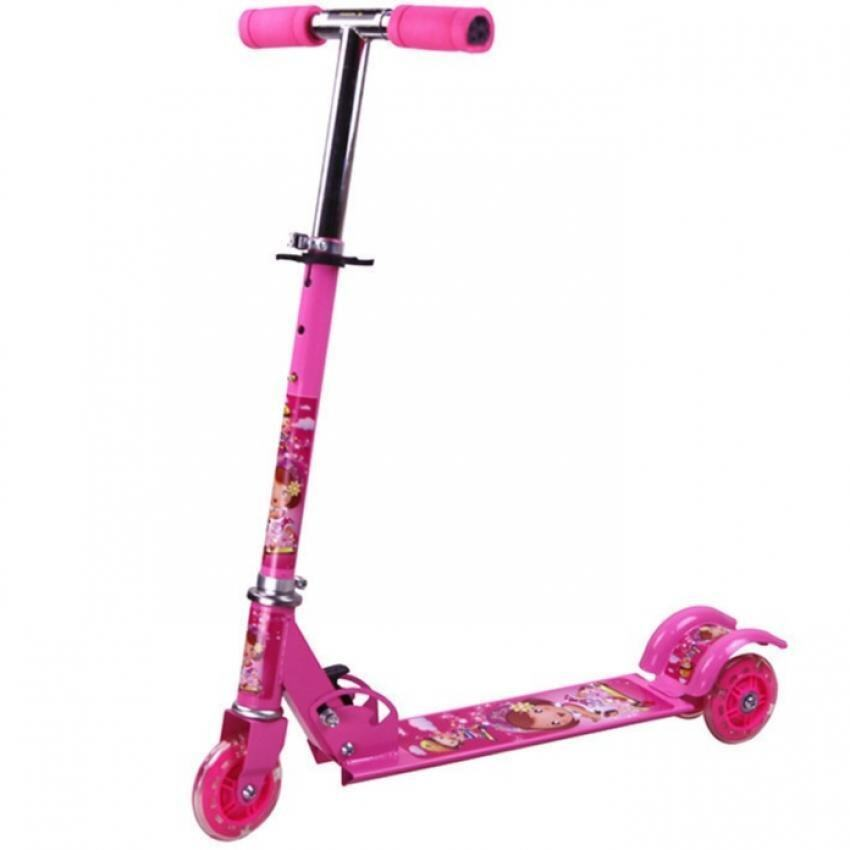 SOKANO Height Adjustable Foldable Kid Scooter with LED Light up Wheels (Pink)