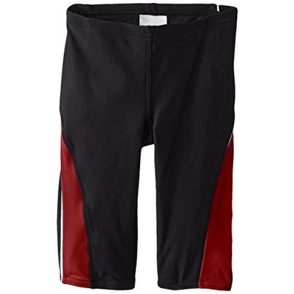 SPEEDO Besar Anak Laki-laki Powerflex Eco Taper Splice Jammer Baju Renang, Hitam/Merah, 22-Internasional