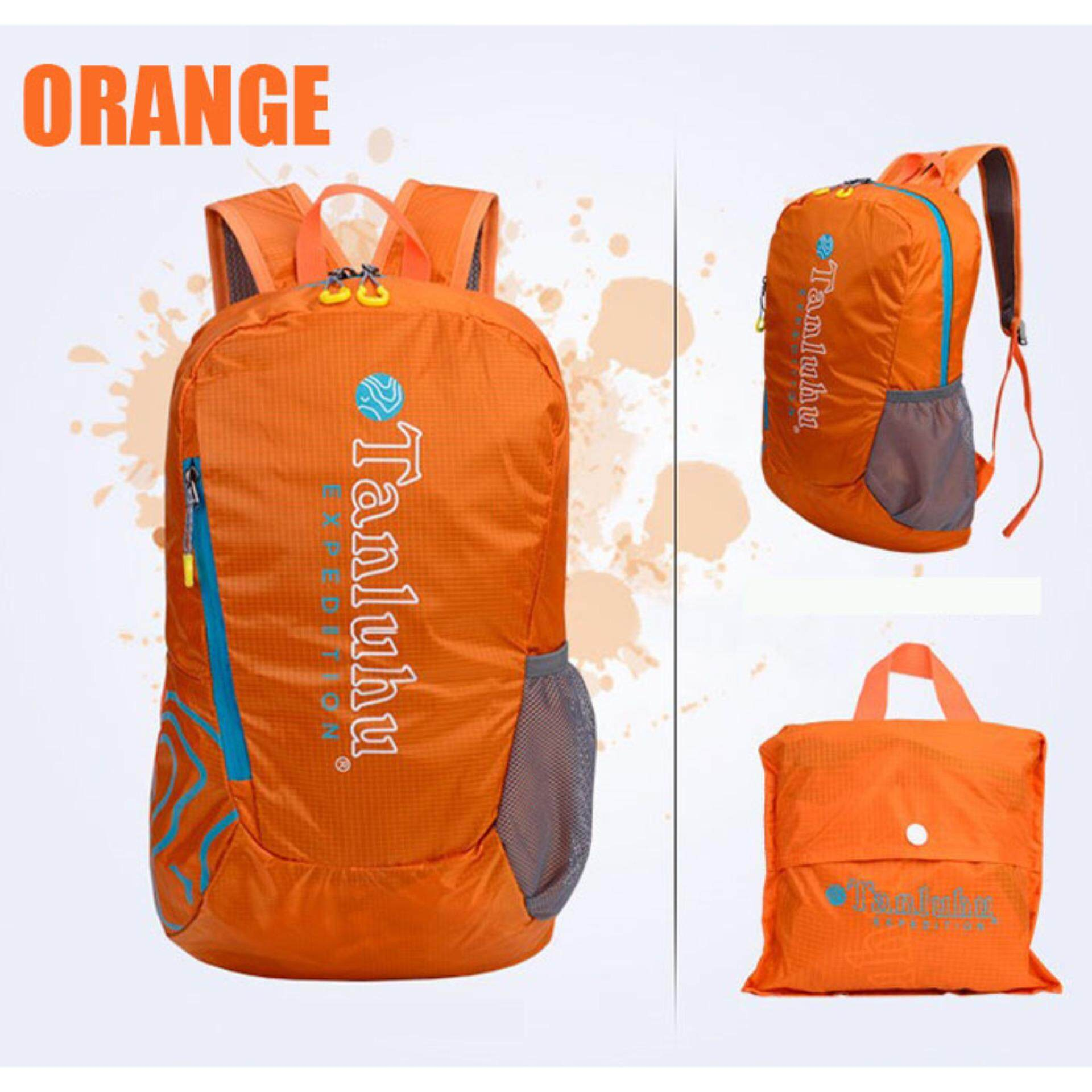 [CLEARANCE SALE] (FREE DELIVERY) Tanluhu 20L Travel Backpack Travel Bag Water Resistant Foldable Outdoor Bagpack - ORANGE