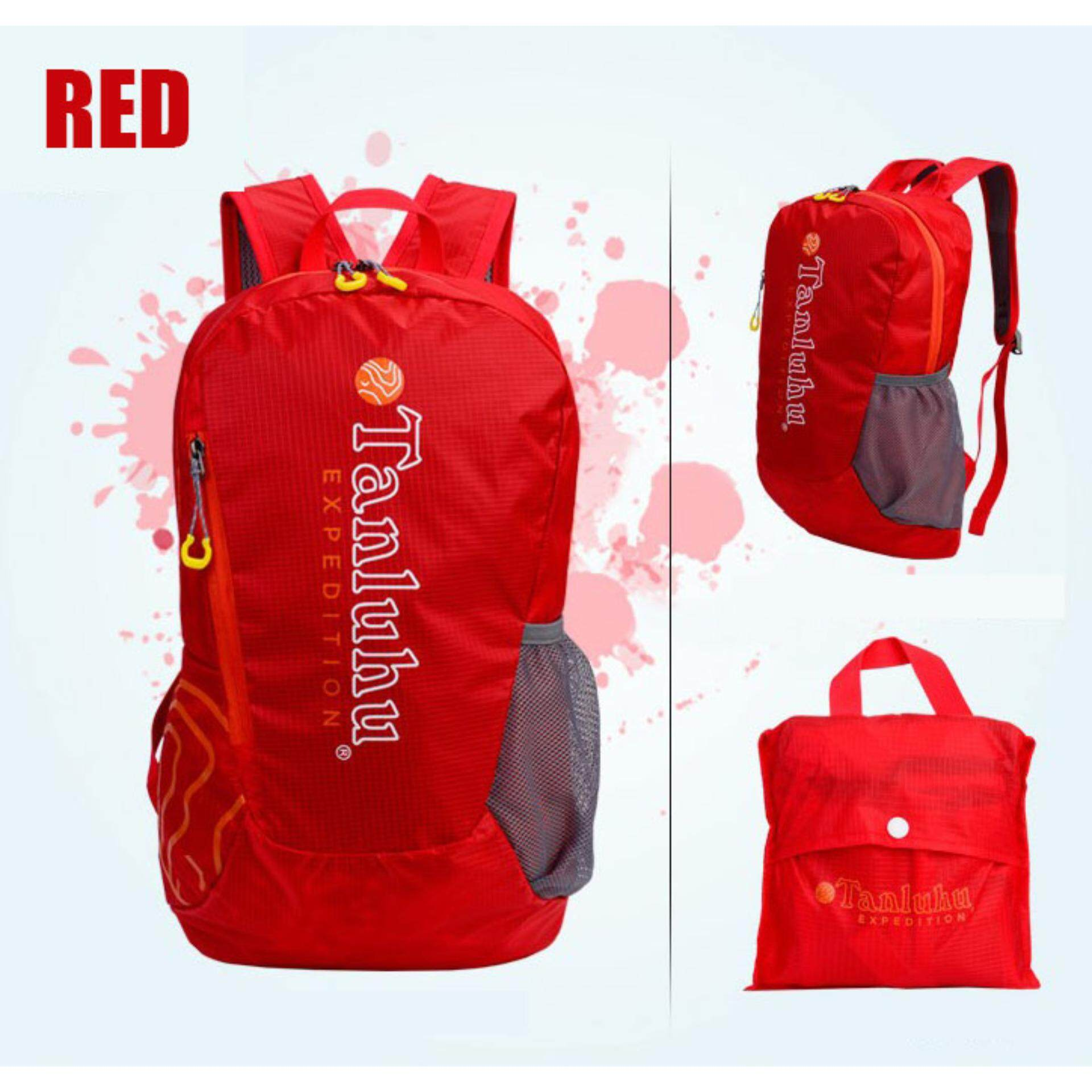 [CLEARANCE SALE] (FREE DELIVERY) Tanluhu 20L Travel Backpack Travel Bag Water Resistant Foldable Outdoor - Red