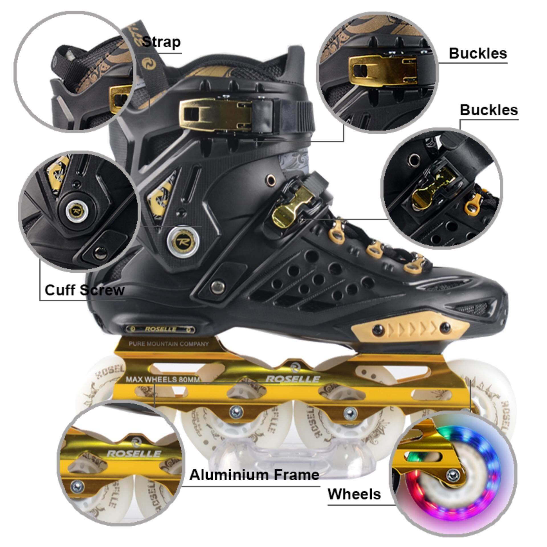 Velocity Roller Blade Roselle RS1 LED  BLACK GOLD  Inline skate roller skates
