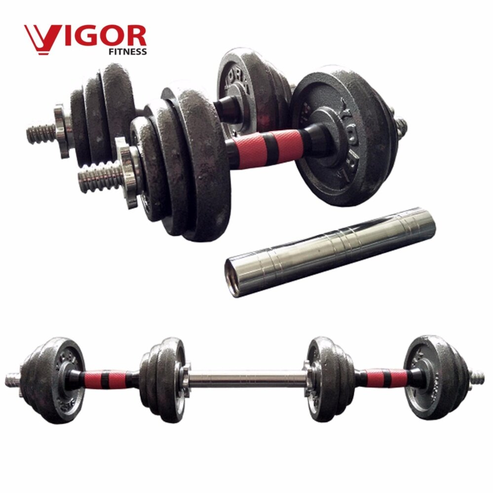 VIGOR FITNESS 20KG Cast Iron Dumbbell and Barbell Set Gym image on snachetto.com