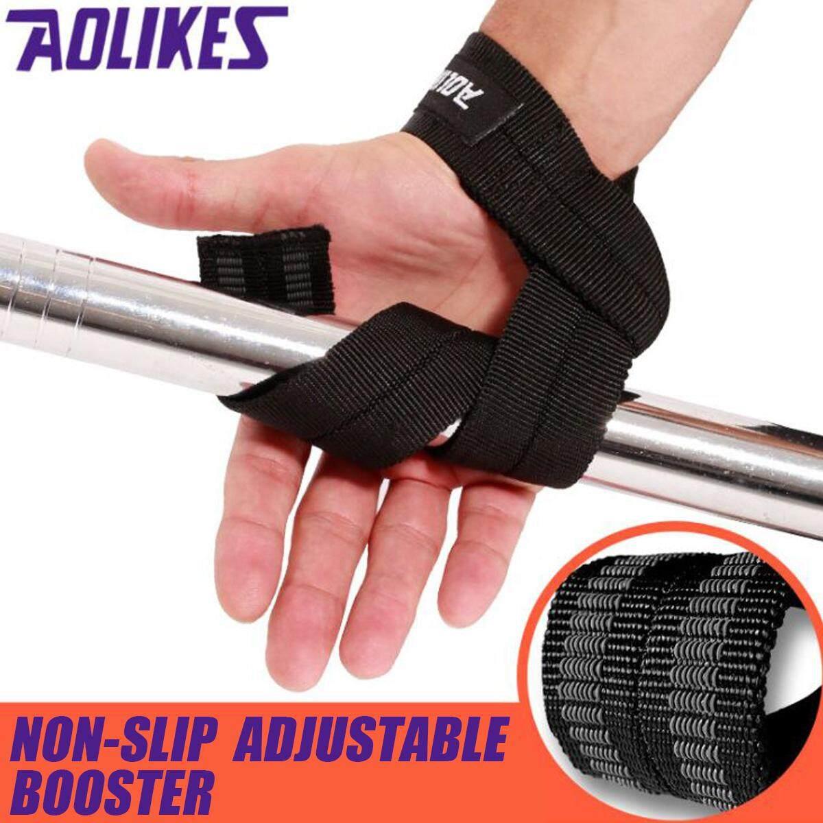 Batangan Angkat Berat Genggaman Tali Pergelangan Tangan Penopang Gym Latihan Wraps Sarung Tangan Perban-Hitam