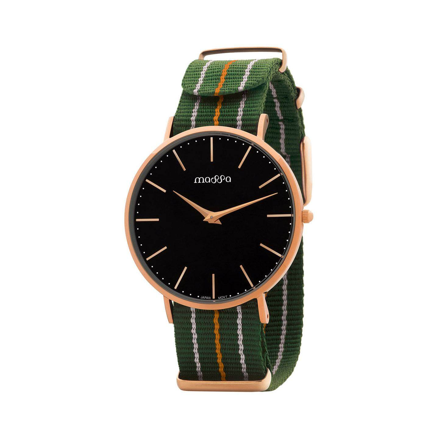 MASSA COLLECTIONS GRACE Rose Gold Black Simple Minimal Exchange-able Nylon and Leather Ladies Watch