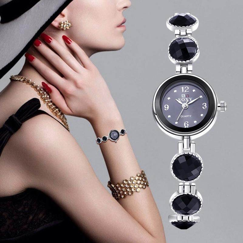 (RAYA 2019) SOXY 0042 Premium Black Bead Bracelet Woman Watch- Silver (Free Watch Box)