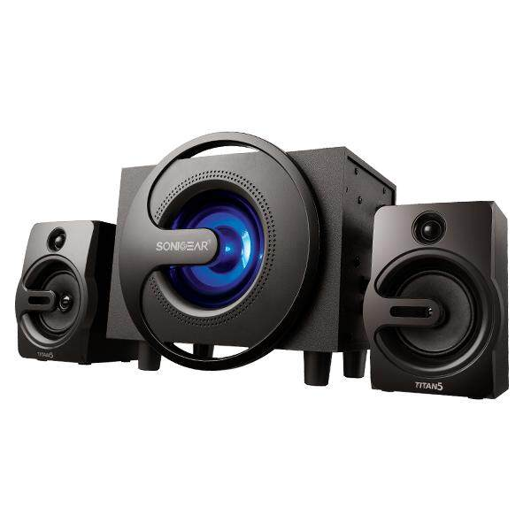 Sonic Gear Titan 5 BTMI 2.1 Speaker System with Subwoofer Bass LED Pulsing Color Effect Support AUX Bluetooth USB FM Radio