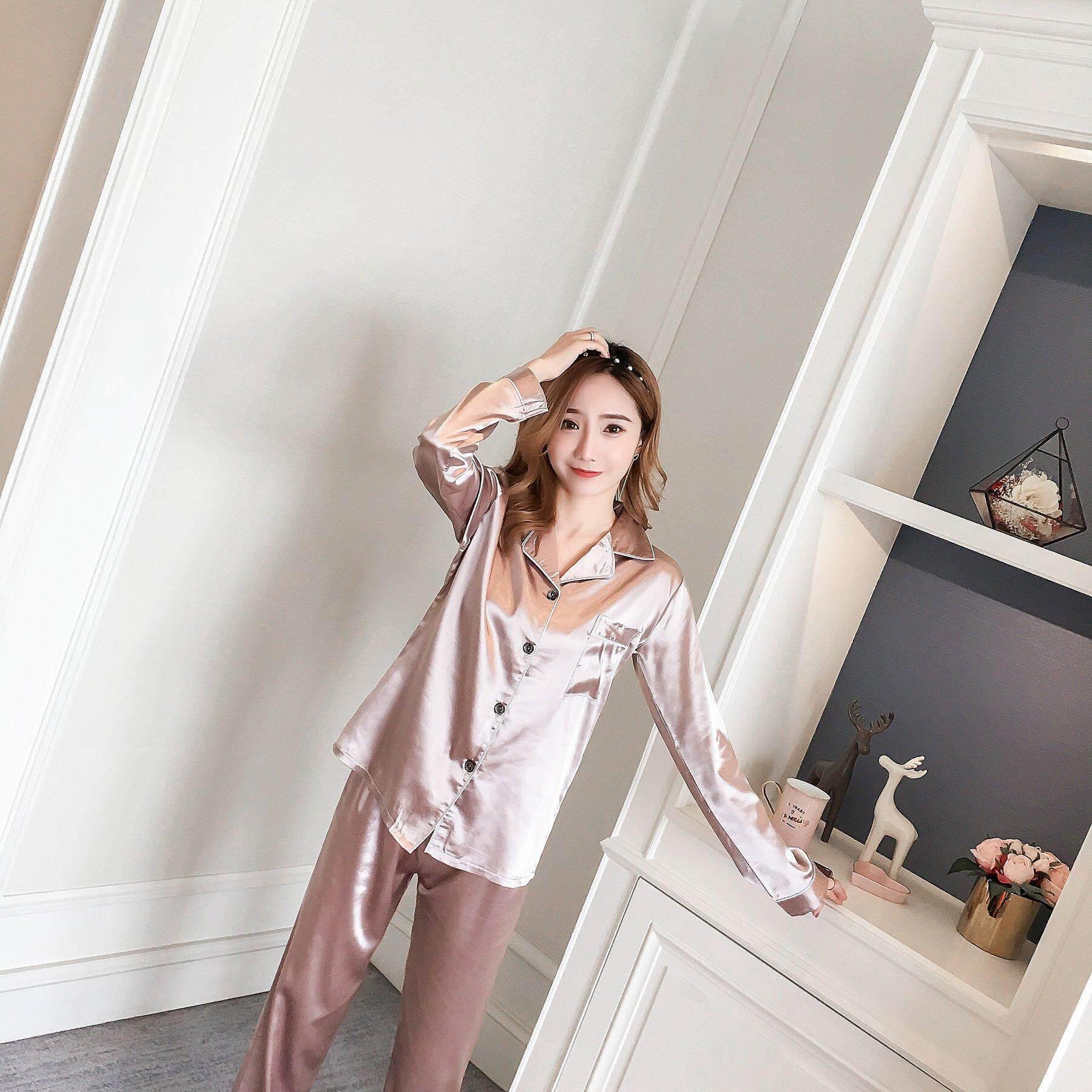【LIMITED & READY 4 YOU】Cute Women Long Sleeve Long Pants Pyjamas Set With Premium Grade Quality Silk  (Multiple Colour)