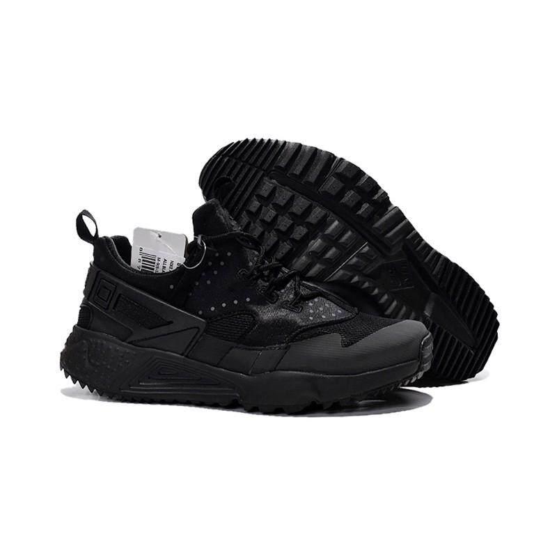 เลย คลังสินค้าพร้อม NIKE Air Huarache 4 3 M ผู้หญิงรองเท้าลำลองสีดำ
