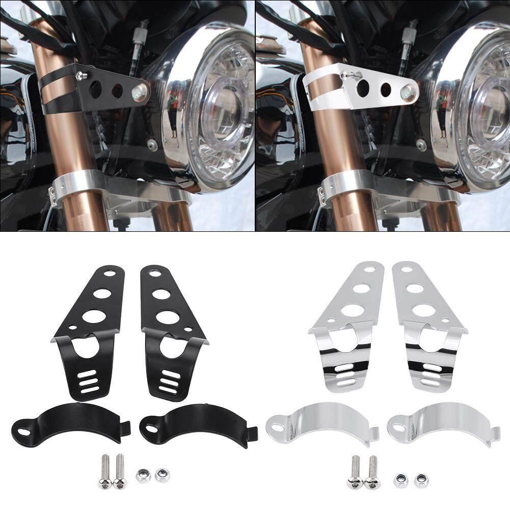Headlight Mounting Bracket,35-43mm Motorcycle Headlight Mount Bracket Fork Tube Clamp Kit for Chopper Cafe Racer Black