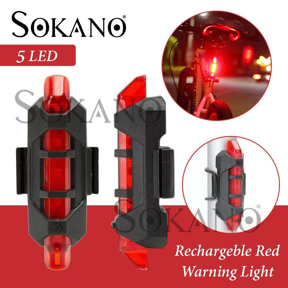 SOKANO Rechargeable Bicycle Tail Light Rear 5 LED Bicycle Cycling Tail USB Rechargeable Red Warning Light Bike
