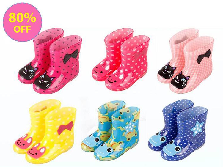 woowfunny รองเท้ากันฝนเด็ก รองเท้าพีวีซี รองเท้าลายการ์ตูน โฟร์ซีซั่น