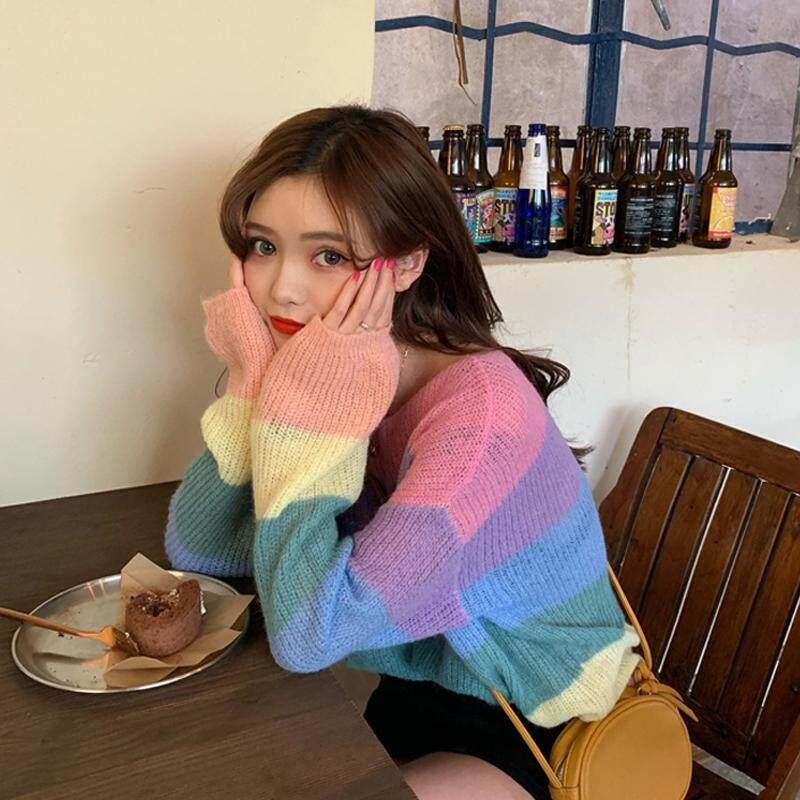 (PRE ORDER) KOREAN RAINBOW STRIPED PULLOVER SWEATER