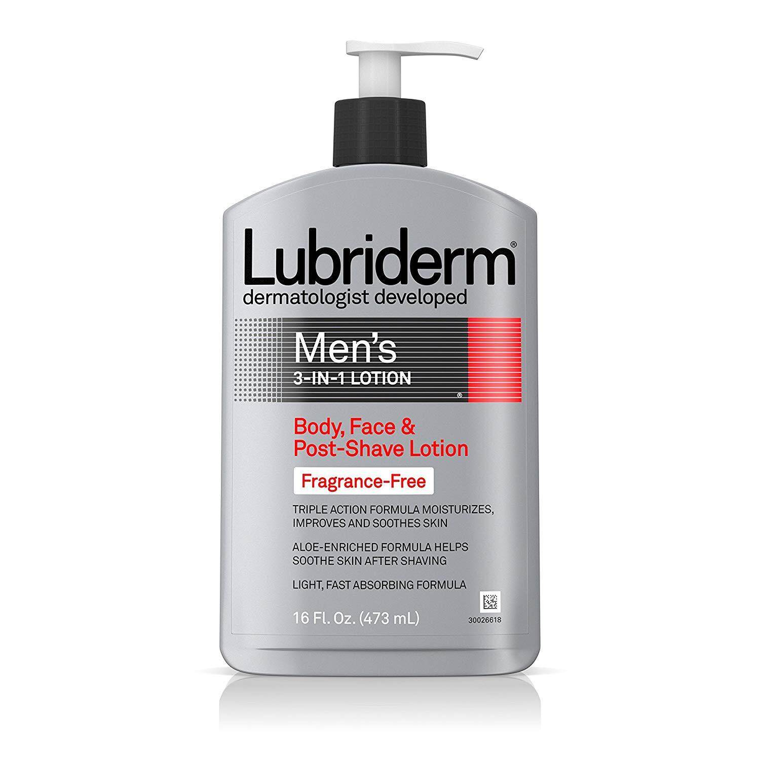 Lubriderm Men 3-In-1 Unscented Lotion Enriched with Soothing Aloe for Body and Face, Non-Greasy Post Shave Moisturizer, Fragrance-Free, 16 fl. oz