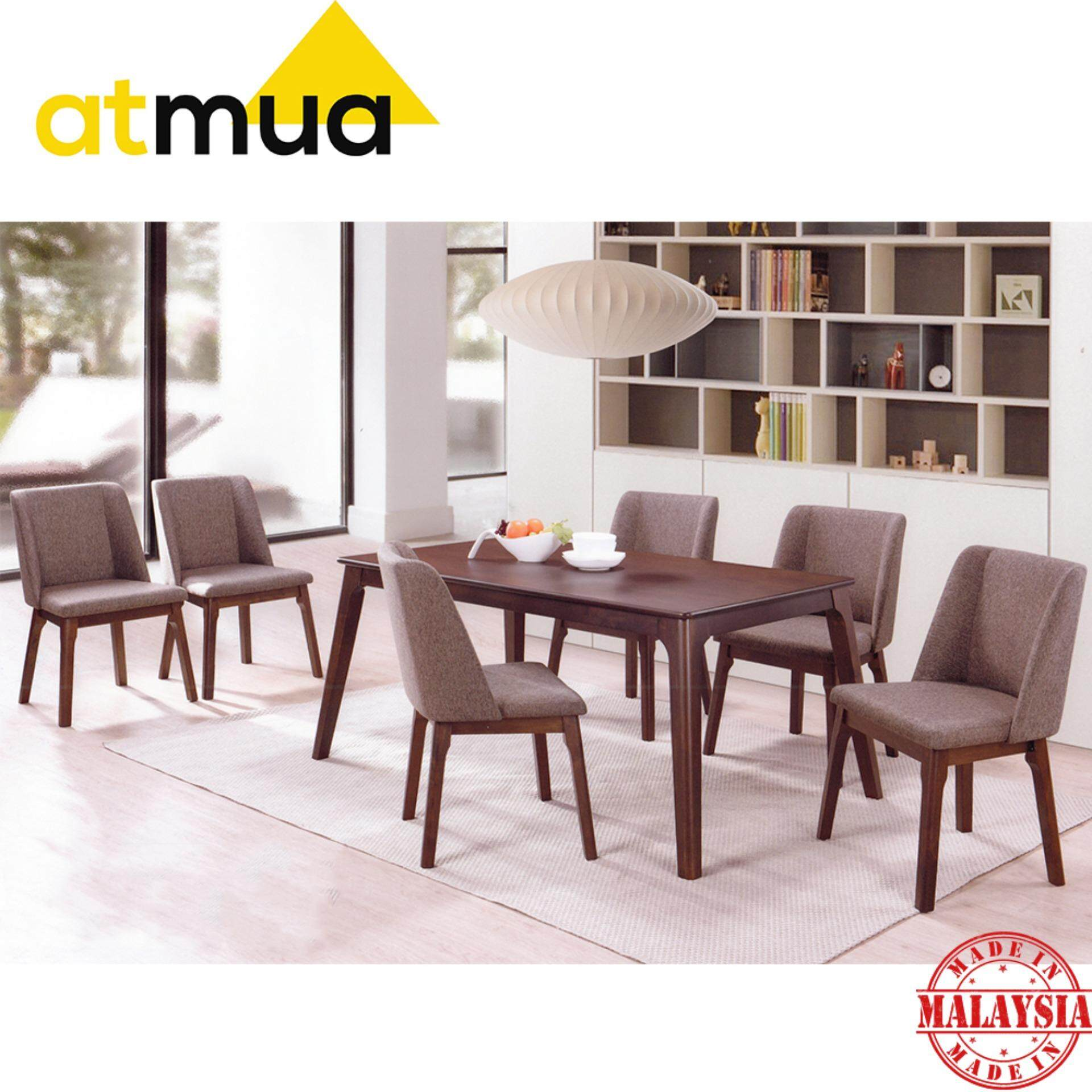 Atmua Bucket Dining Set (1 Table + 6 Chairs) - Modern Style [Full Solid Rubber Wood]