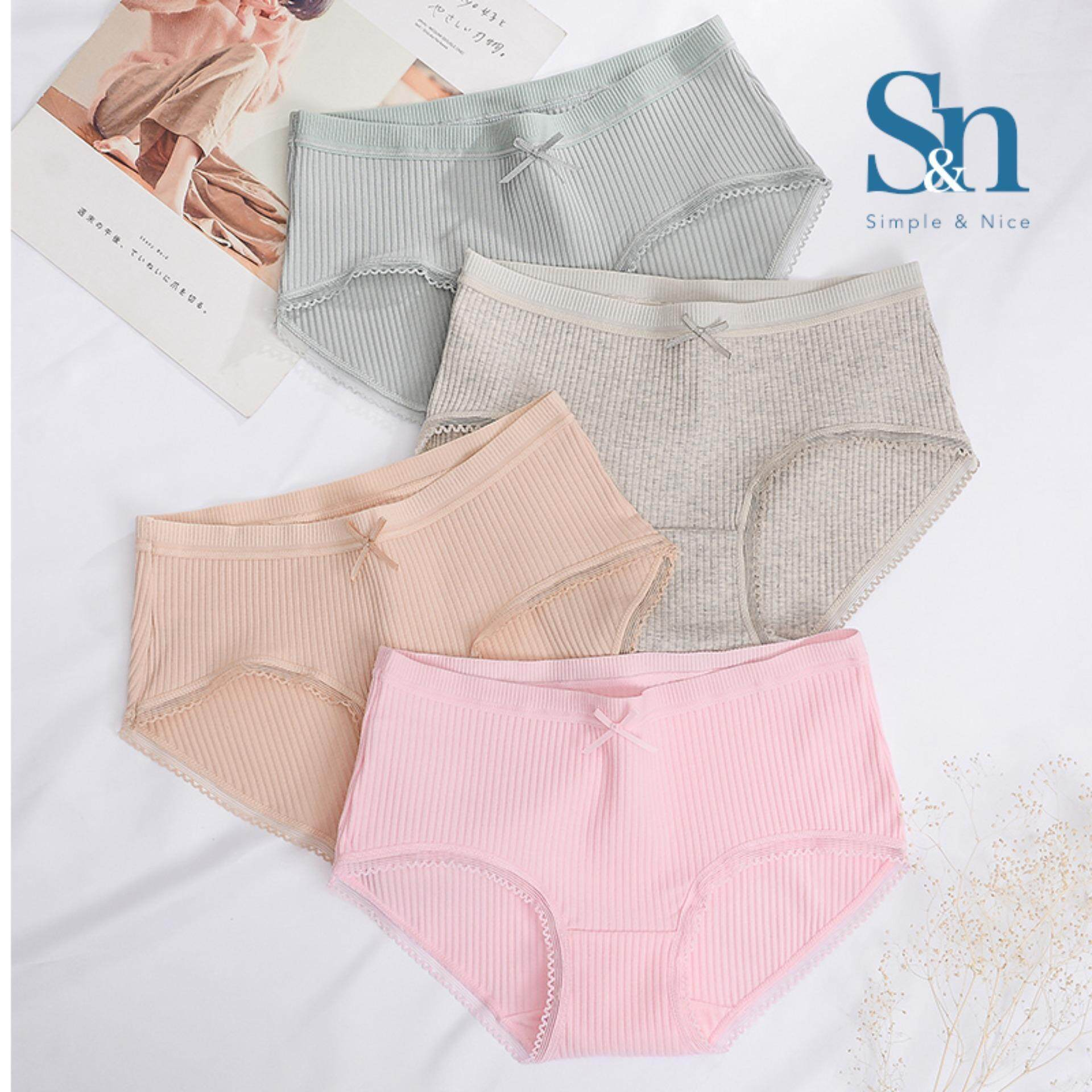 【7 Pcs Korean Premium Cotton Underwear】SIMPLE & NICE Women/Female/Girls Standard Plain Design Panties Underwear Inside Wear Set (M-L) Direct From Factory