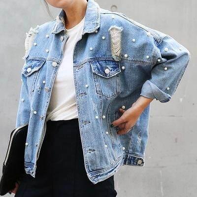 Vintage Fashion Mutiara Jaket Denim Wanita Jaket Denim Mantel Dasar Semi Panjang Pakaian Wanita Lubang Ukuran