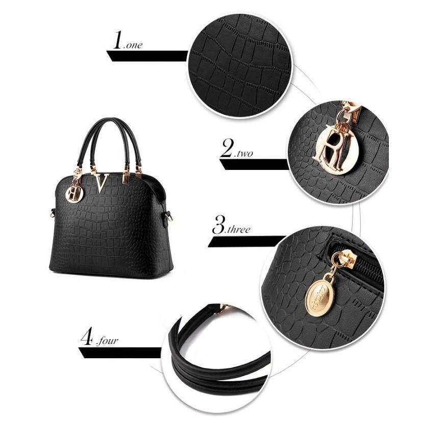 6554d586ad4fed Set Handbags - Vence 403 V European PU Handbag - [BLACK / BLUE / ROSE]