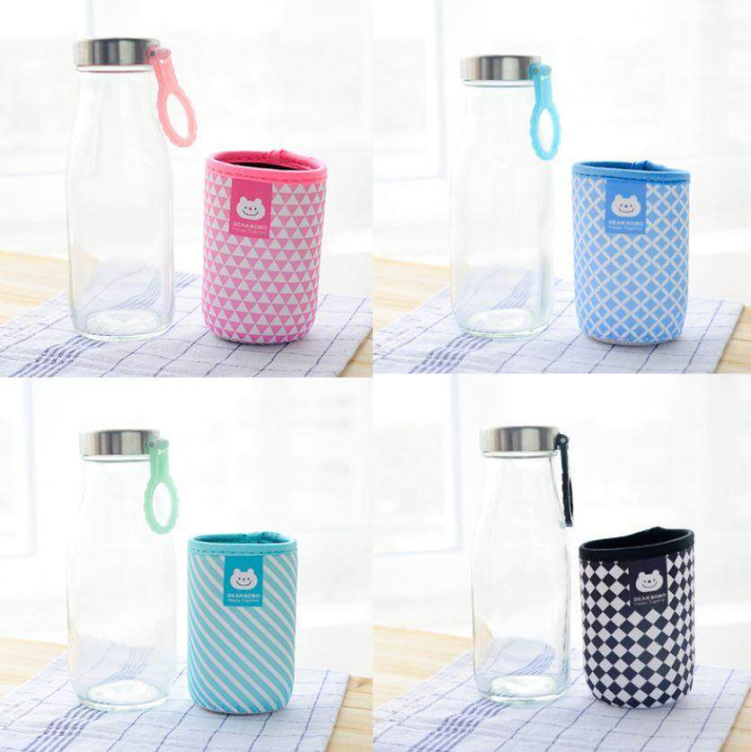 350 ml Cute Glass Multiple Design Cloth Cover Bottle ACC-047